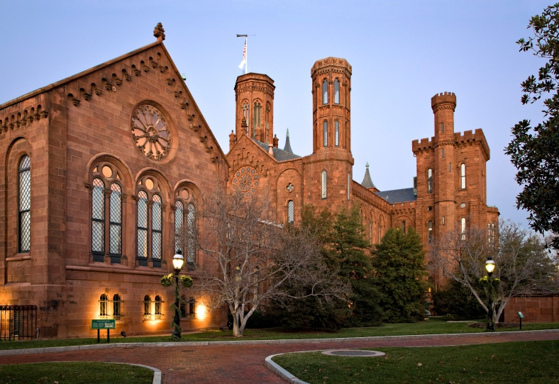 "The Smithsonian Institution Building (""The Castle"") in Washington, D.C., at dusk."