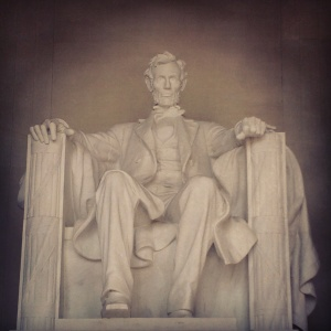 A 19-foot statue of Abraham Lincoln sits in the center of the Lincoln Memorial
