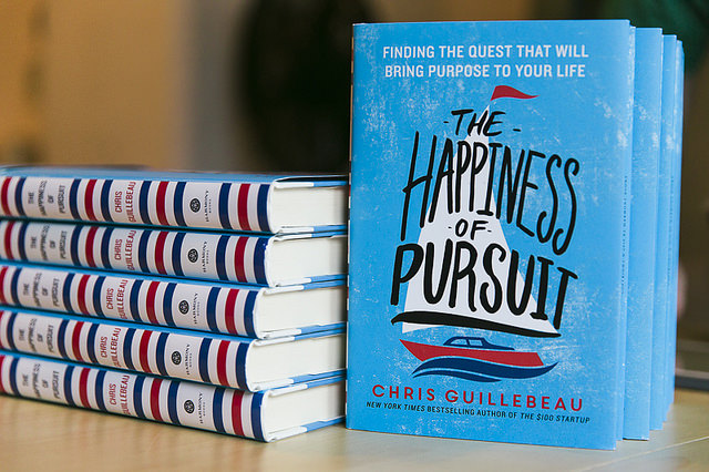 "Chris Guillebeau's new book, ""The Happiness of Pursuit"""