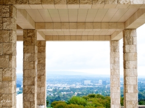 Archways frame spectacular views across the LA basin.
