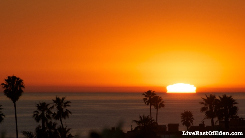 Sunset over the ocean in Newport Beach, California